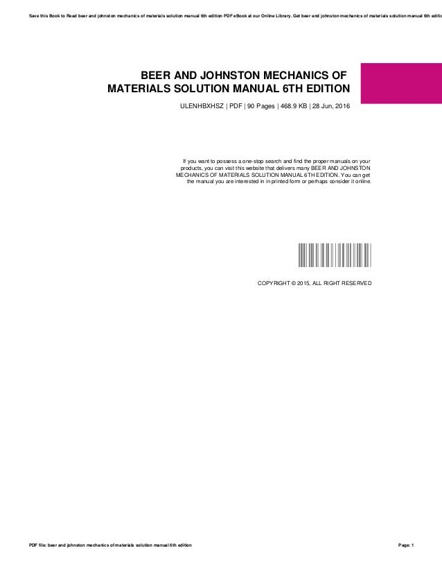 mechanics of materials 7th edition beer solution manual pdf