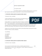 Safety officer experience certificate sample pdf
